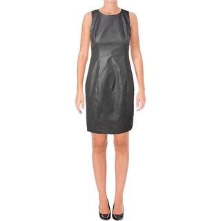 Lauren Ralph Lauren Womens Casual Dress Faux Leather Sheath