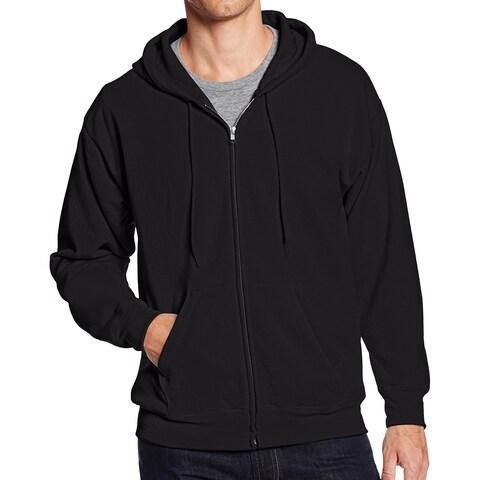 Hanes Black Mens Size Large L Full-Zip Hoodie Sweater Fleece Jacket