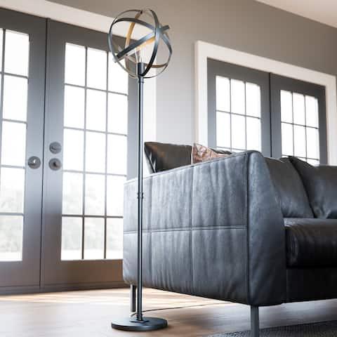 Gyroscope Black Floor Lamp with Bulb
