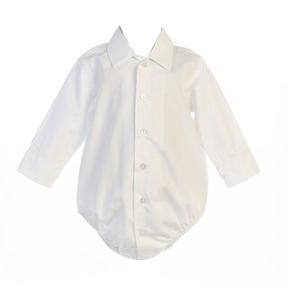 Baby Boys White Shirt Style Long Sleeve Poly Cotton Bodysuit