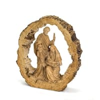 """16"""" Tortilla Brown Antique Styled Holy Family Resin Figurine with Free Standing Feature"""