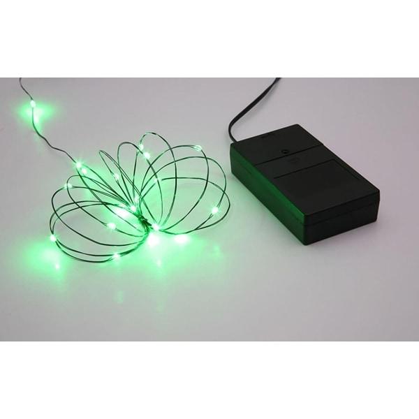 Multi Function Ultra Slim Wire Christmas Light Set - 24 Green LED Lights