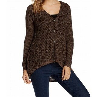Joan Vass NEW Brown Hi-Lo Women's Size Medium M Cardigan Sweater