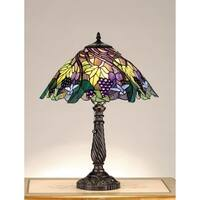 Meyda Tiffany 82303 Stained Glass / Tiffany Accent Table Lamp from the Spiral Grape Collection - Mahogany Bronze