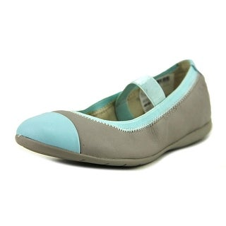 Clarks Dance Brite Youth Round Toe Leather Gray Flats