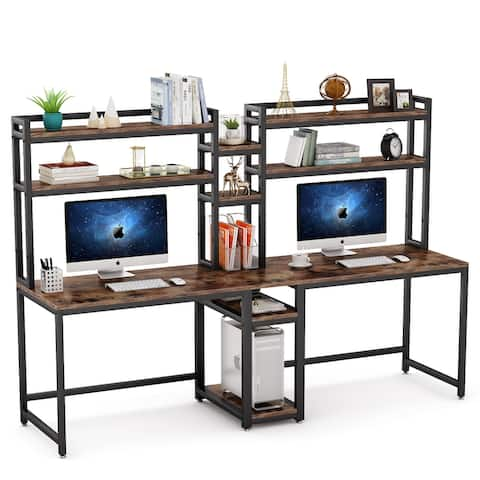 """90.5"""" Double Computer Desk with Hutch, Extra Long Two Person Desk Workstation - Rustic Brown"""