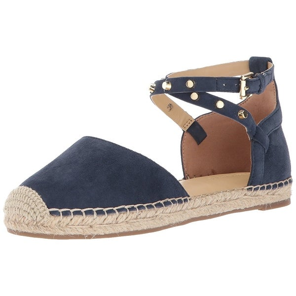 Shop Marc Fisher Womens Maci Leather Closed Toe - Ankle Strap Espadrille Flats - Toe - 17674708 1588fb