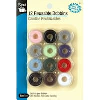 Plastic Class 15 Bobbins-Assorted Colors 12/Pkg