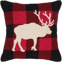 """18"""" Black and Red Country Rustic Moose Profile Holiday Throw Pillow Cover"""