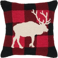 """18"""" Black and Red Country Rustic Moose Profile Holiday Throw Pillow - brown"""