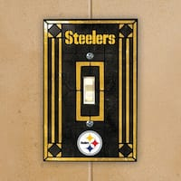 Pittsburgh Steelers Black Art-Glass Switch Plate Cover