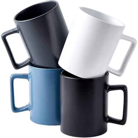 Bruntmor Modern Matte Large 16 Oz Ceramic Coffee Mug Set Of 4 Cups For Coffee, With Modern Square Handle, With Square Handle