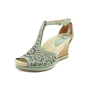 Earthies Casella Women Open Toe Leather Green Wedge Sandal