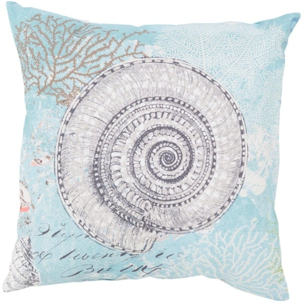 "20"" Turbo Snail Bezique Blue and Oyster White Throw Pillow Shell"