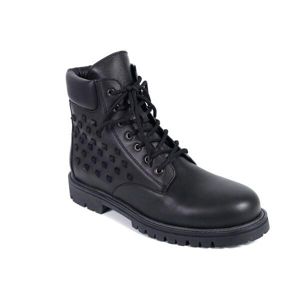 Valentino Mens Black Rockstud Lace Up Combat Boots