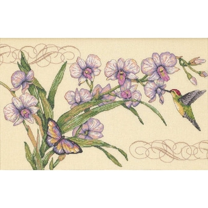 "Orchids & Hummingbirds Counted Cross Stitch Kit-14""X9"" 18 Count - White"