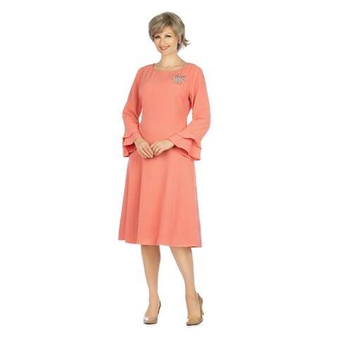 Giovanna Signature Textured Brocade A-line Dress w/ Brooch