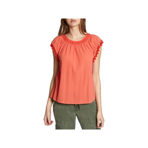 Sanctuary Womens Pullover Top Tassel Cap Sleeves