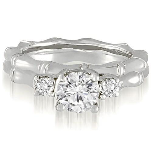 1.00 cttw. 14K White Gold Antique Three-Stone Round Diamond Bridal Set