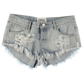 One Teaspoon Womens Destroyed Button Fly Cutoff Shorts - 27
