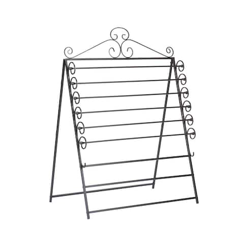 """46.25"""" Black Contemporary Easel and Wall Mount Craft Storage Rack"""