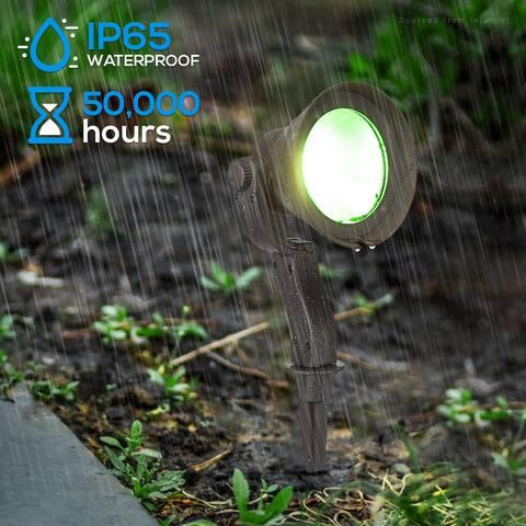 LED Landscape Spot Light, 12W RGBW Low Voltage Pathway Light 4/8 Pack