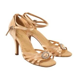 Sansha Adult Light Tan Sparkle Brooch Accent Dolores Ballroom Shoes Womens