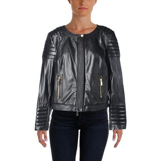 Vince Camuto Womens Leather Seamed Motorcycle Jacket - XL