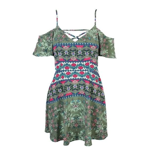 2f85e2e6d48 Shop Teeze Me Juniors Green Cold-Shoulder Fit   Flare Dress 3-4 ...