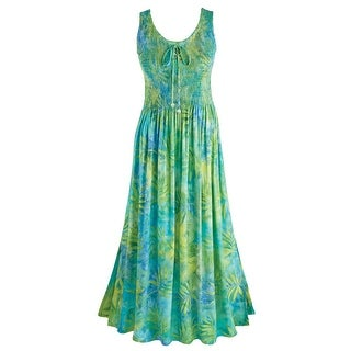 Women's Sea-Green Shirred Maxi Dress - Scoop Neckline Sleeveless