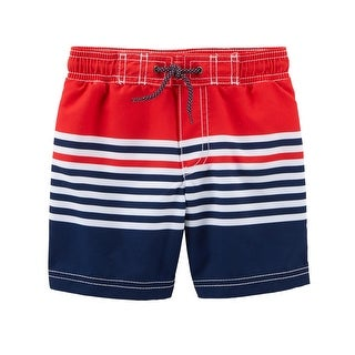 Carter's Baby Boys' Striped Swim Trunks, 12 Months - Red