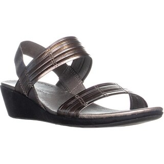 BareTraps Melody Strapped Wedge Sandals, Pewter/Bronze