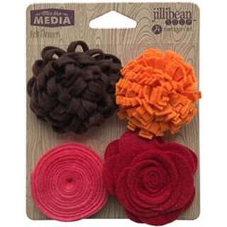 Shades Of Red - Jillibean Soup Mix The Media Felt Flowers 4/Pkg