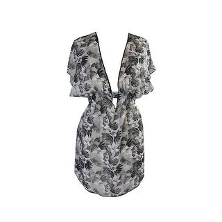 Miken Swim Grey Smocked Floral-Print Cover-Up XS