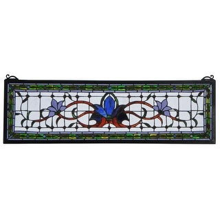 "Meyda Tiffany 119445 Fairytale Transom Hand-Crafted 10""H X 33""W Stained Glass Window - Antique Bronze"