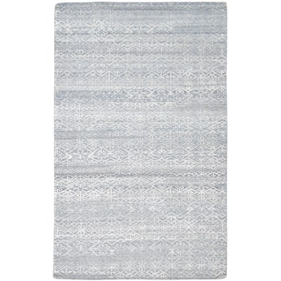 """One of a Kind Hand-Knotted Modern & Contemporary 6' x 9' Floral & Botanical Wool Blue Rug - 5'0""""x8'8"""""""