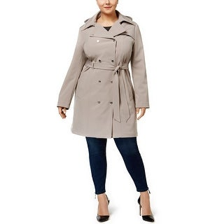 Calvin Klein Plus Size Hooded Softshell Trench Coat Thistle