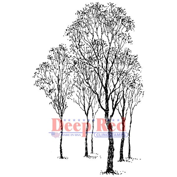"""Deep Red Cling Stamp 2""""X3""""-Winter Trees"""