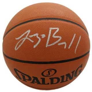 Lonzo Ball Autographed Los Angeles Lakers Spalding Basketball Silver BAS