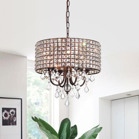 Antique Copper 4-Light Beaded Drum Shade Chandelier with Crystals - Antique Copper
