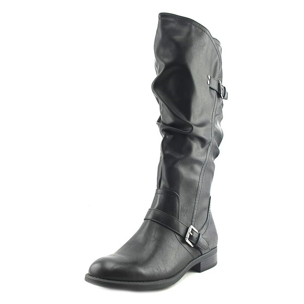 White Mountain Lida Wide Calf Women Round Toe Synthetic Black Knee High Boot