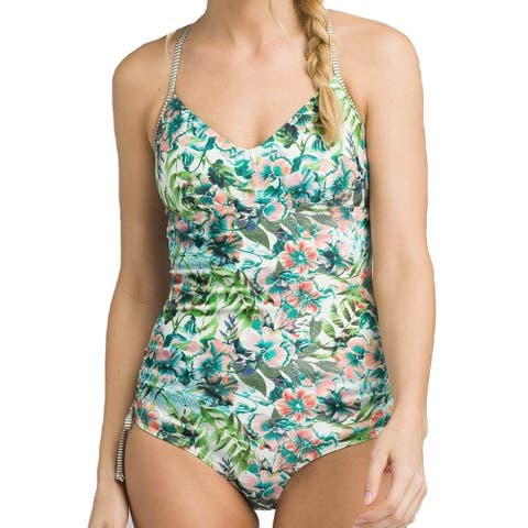 c59cf80c26d4c Prana Green Womens Size Large L Moorea Floral One-Piece Swimwear
