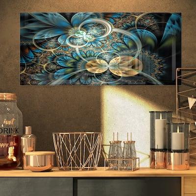 Designart 'Symmetrical Blue Gold Fractal Flower' Digital Art Metal Wall Art