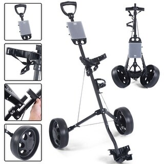 Costway Foldable 2 Wheel Push Pull Golf Cart /Cup Holder Trolley Swivel Steel Light (2 Wheel) - Black