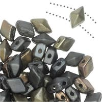Czech Glass DiamonDuo Mini, 2-Hole Diamond Shaped Beads 4x6mm, 8 Grams, Matte Zinc Iris