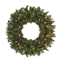 12' Pre-Lit High Sierra Pine Commercial Artificial Christmas Wreath - Clear Lights - green