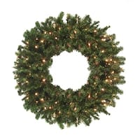 8' Pre-Lit High Sierra Pine Commercial Artificial Christmas Wreath - Clear Lights - green