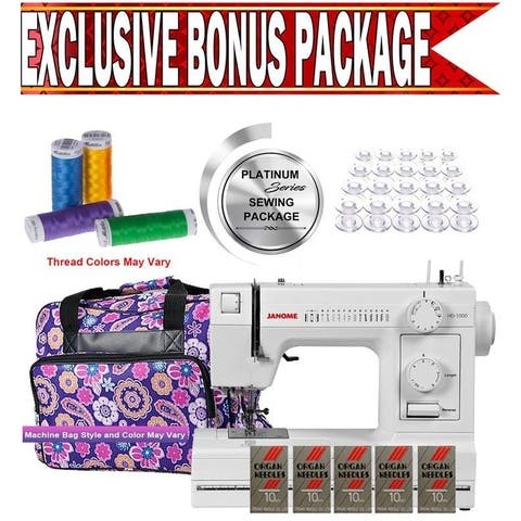 Janome HD1000 Heavy-Duty Sewing Machine w/ Exclusive Platinum Series Sewing Package!