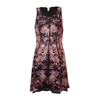 Bar III Women's Sleeveless Scoop Neck Floral Print Dress