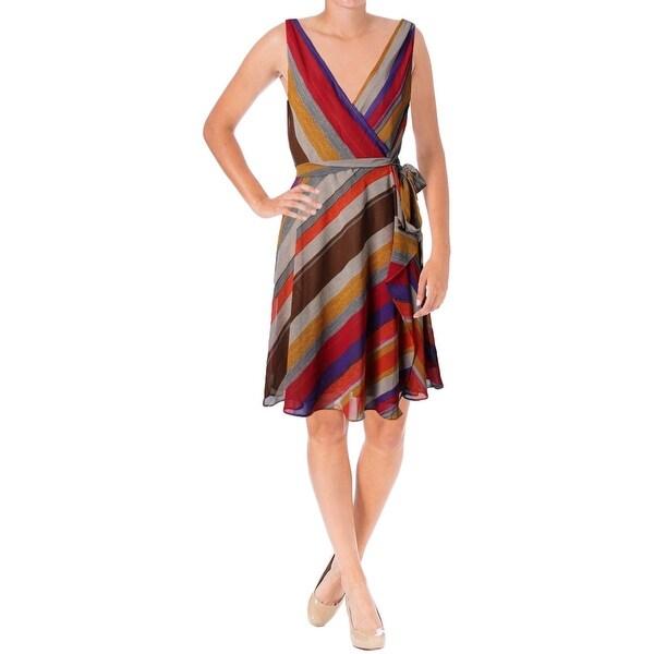 Lauren Ralph Lauren Womens Wrap Dress Chiffon Striped